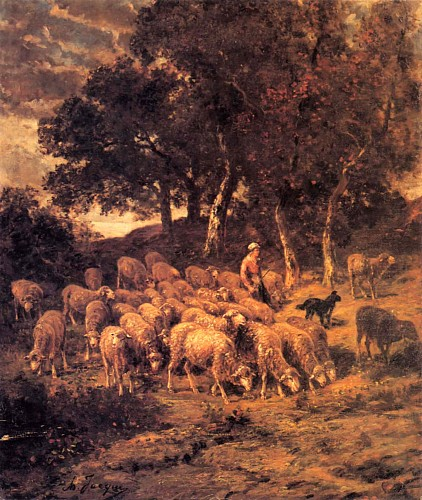 Charles Emile Jacque - A Shepherdess and Her Flock