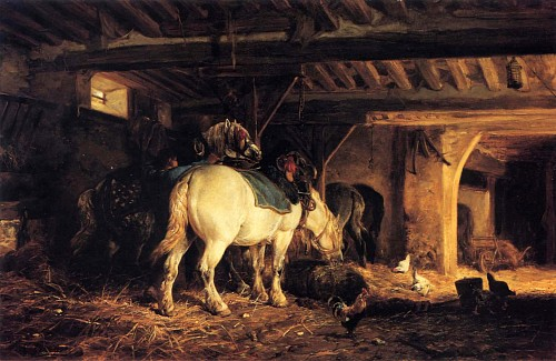 Charles Emile Jacque - In the Stable