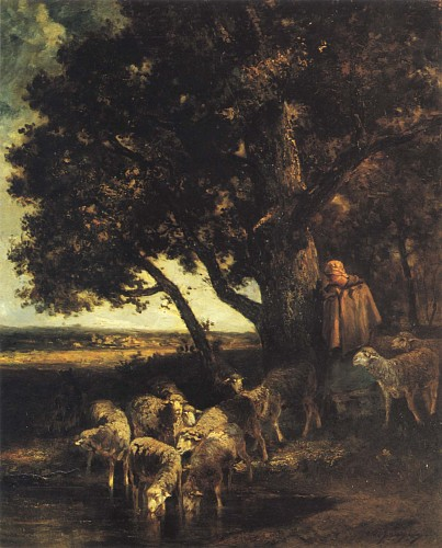 Charles Emile Jacque - A Shepherdess and her Flock by a Pool